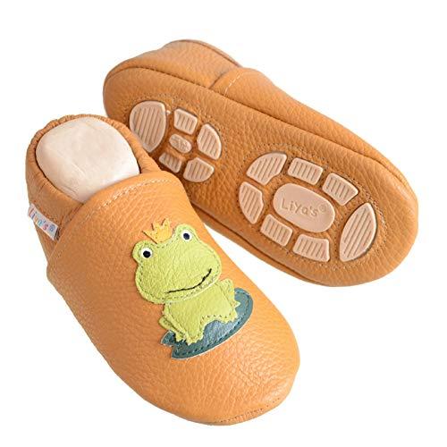 Liya's Babyschuhe Hausschuhe Exclusiv mit Gummisohle - #687a Frosch in senf - Gr. 21/22