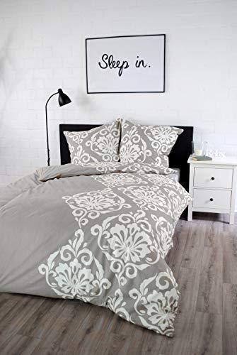 jilda-tex Bettwäsche 100{1cad6a947d583ec4e46839a8b1e1062f686380f932dba5677562dff2dec6b09e} Baumwolle Design 135x200 cm mit Reißverschluss Bettbezug Bettgarnitur Verschiedene Designs (Ornament Classic - Grey)
