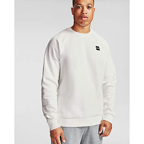 Under Armour Herren Rival Fleece Crew T-Shirt, Herren, Sweatshirt mit Rundhalsabschnitt, Rival Fleece Crew, Onyx Weiß (112)/Weiß, 4X-Large Tall