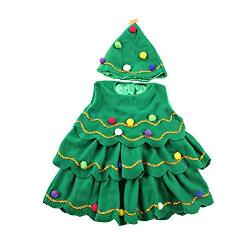 BESTOYARD Costume da albero di Natale con pallina di Natale, per bambini, con cappello a tunica e cappello di Natale, taglia 100 cm, 2 pezzi (verde)
