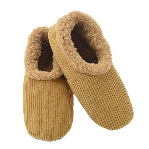 Snoozies Mens Corduroy Slippers Slippers for Men | Mens House Slippers | Fuzzy Slippers with Soft Soles | Tan | Medium