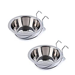 Genuine Heritage Pet Products Trademarked Products High Quality Stainless Steel Bowls with Hangers Ideal for hanging on dog crates or wire animal enclosures.