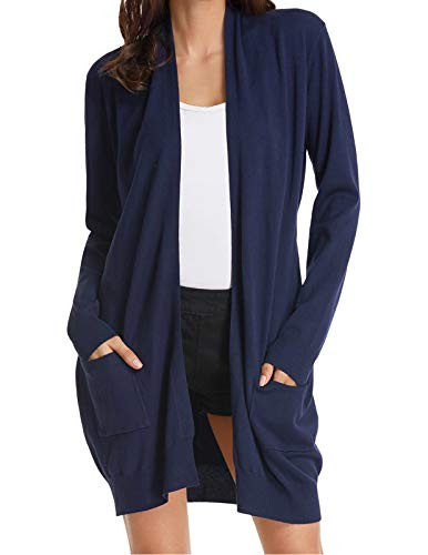 Womens Soft Open Front Long Sleeve Pockets Sweater Cardigan Navy L