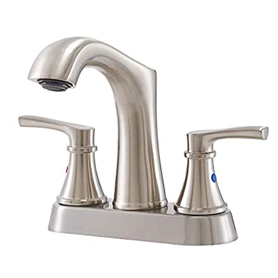 IKEBANA Modern 2 Handles Brushed Nickel Bathroom Faucet, Commercial Stainless Steel 2 Holes Bathroom Sink Faucet,Best 4 Inch Centerset Lead-Free Brass Bath Lavatory Vanity Utility Laundry Faucets