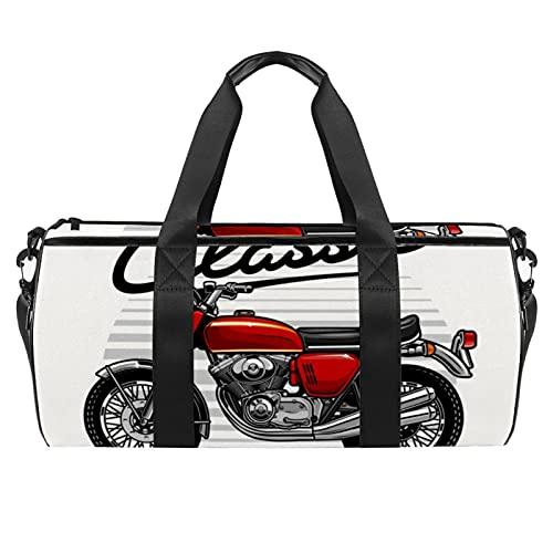 Borsone sportivo da palestra, borsa da danza media leggera e durevole per sport da uomo e donna, 45 x 23 x 23 cm, Moto Vintage 8, 45x23x23cm,
