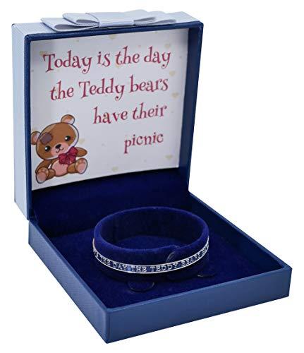 Sincerelyforyou Armreif für Babys, Silber, erweiterbar, Teddybär, mit Gravur, in Geschenkbox, Weihnachten oder Geburtstag