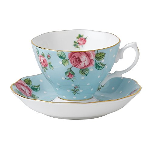 Royal Albert Polka Cup and Saucer, Mostly Blue with White Multicolored Floral Print