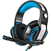 Gaming Headset,CamKing GM-2 Game Headset,Multi-functional Stereo Headphone with Microphone,Bass Surround and Soft Memory Earmuffs for PS4, PC, Xbox One and Mobile Phone(Black+Blue)