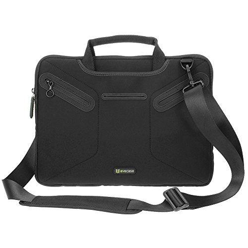 Microsoft Surface Book 13.5 inch Messenger Bag, Evecase Ultra Portable Neoprene Messenger Briefcase Shoulder Tote Bag with Handle and Accessory Pocket - Black
