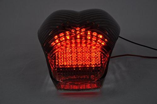 Topzone Moto ahumado lente motocicleta LED Faros traseros para luz trasera de freno con integrado Turn Signal Lamp Indicadores para BMW K1200R K1200S