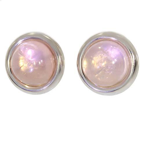 ARTIPOL Pendientes con Cuarzo rosa Artesania europea estilo francés - Bisutería de plata rodinada E-22-08 - Muchos piedras disponibles