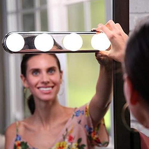JYSPT Draagbare LED Vanity Spiegellampen, Vanity Make Up Light Studio Glow Natuurlijke Licht voor Make-up Dressing Tafel met 4 LED-lampen en Krachtige zuignappen
