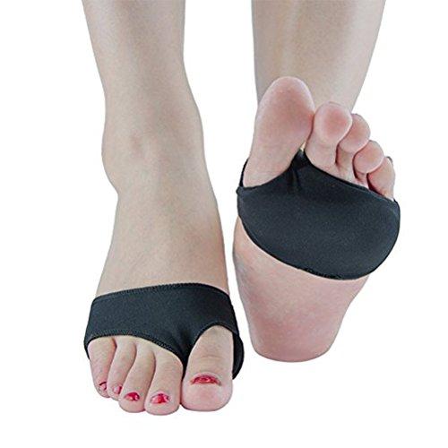 ROSENICE Vorfuß Einlegesohle Silikon Gel für Füße Schmerzlinderung Hallux Valgus 2 Löcher - M (Schwarz)