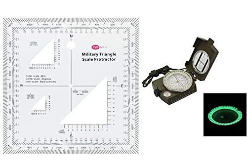 Gotical Military UTM/MGRS Coordinate Scale Map Reading and Land Navigation Topographical Map Scale, Protractor and Grid Coordinate Reader and Camping Recreational Field Compass