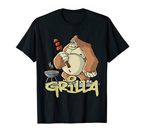 Grill T-Shirt BBQ und Smoker Grillen Gorilla Spruch T-Shirt