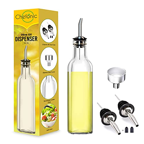 Glass Olive Oil Dispenser 500 ml, with 1 Funnel for Easy Refill, 2 Stainless Steel Pourer, Clear Borosilicate Oil Bottle for Kitchen, Cooking Oil Container