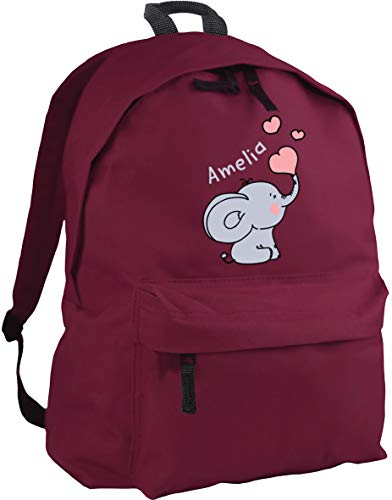 HippoWarehouse Personalised Any Name Baby Elephant Pink Backpack ruck Sack Dimensions: 31 x 42 x 21 cm Capacity: 18 litres