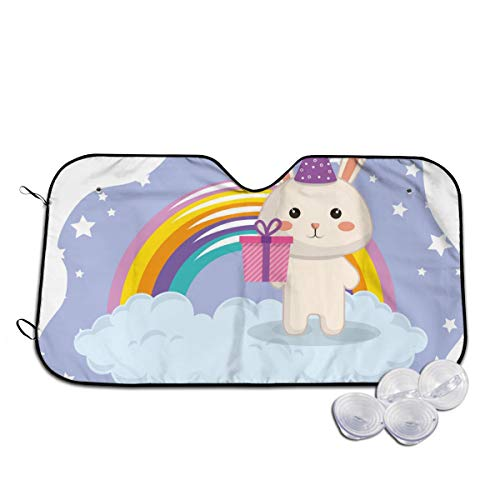 Rterss schattig konijn met regenboog Kawaii verjaardagskaart aangepaste voorruit zon schaduw vizier voorruit glas voorkomen de auto van verwarming tot binnen