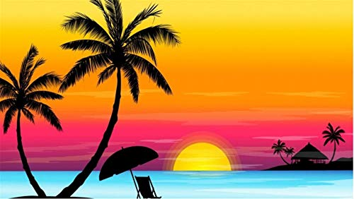Nobranded Stichsäge 1000 Teile Stichsägen Für Erwachsene Puzzel Sonnenuntergang Kokosnussbaum Ozean Stichsägen Für Kinder & Freund