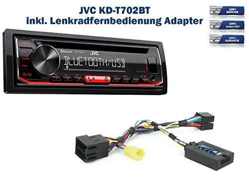 Autoradio JVC KD-T702BT geeignet für Renault Clio | Megane | Scenic | Laguna | Modus | Twingo | Trafic | Kangoo | Master inkl. Lenkrad Fernbedienung Adapter