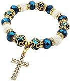 Catholic Crystallized Cross Deep Blue Crystal...