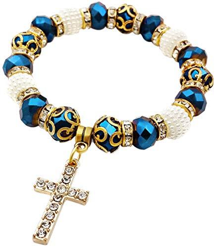 Nazareth Store Pulsera Católica Rosario Cristalizado Cuentas Azul Profundo Encanto Cristiano Pulsera Brazalete Elástico