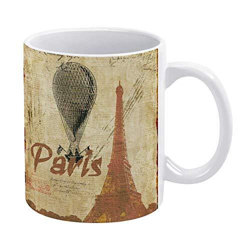 N\A Divertida Taza de café o té, Regalar o coleccionar, Tazas de café de 11 oz-Retro Paris