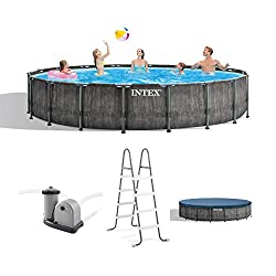 small Intex 26743EH steel frame, ground outdoor pool, with graywood prism, 18ft x 48inch …