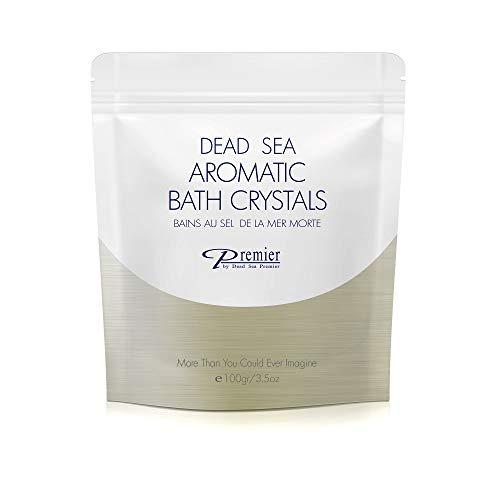 Premier Dead Sea Salt Aromatic Bath Crystals Soft Detoxified Clean Skin Treatment, Natural Minerals Certified, May Help Relieve Eczema, Psoriasis, Acne 100g