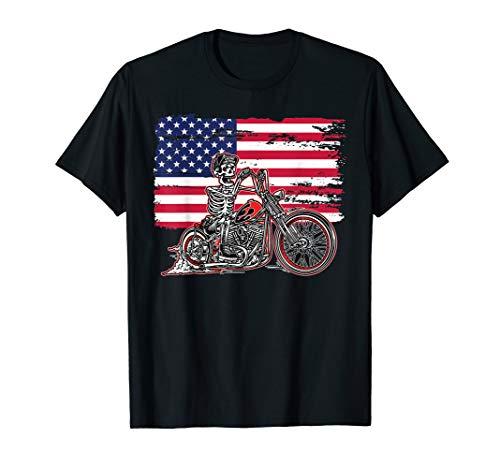 American Flag Motorcycle Skeleton Biker Bobber Chopper Rider T-Shirt