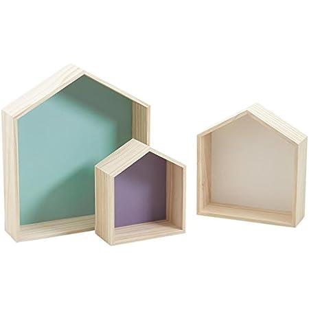 Aubry Gaspard - Lote de 3 estanterías de pared de colores (madera, diseño de casa)