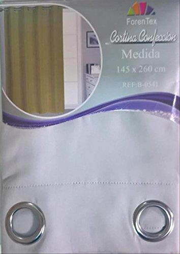 ForenTex - Cortina Opaca (B-0541), Blanco, 145 x 260 cm, Curtain Aislante de Calor y Frio, reducción Ruido, Anti Polvo, Acabados ollaos Acero