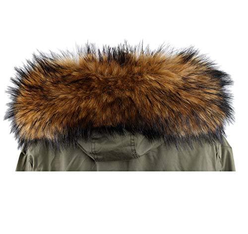 Deargles Bufanda de piel sintética con mantón para cuello de abrigo de invierno o bordes con capucha Natural 75cm * 17cm