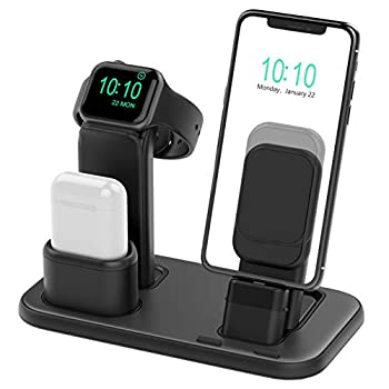 Beacoo Upgraded 3 in 1 Charging Stand for iWatch Series 6/5/4/3/2/1 Charging Station Dock Compatible with Airpods Pro/1/2 iPhone Series 12/11/pro/Xs/X Max/XR/8/8Plus/7/6S Charger & Cables Required