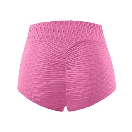Boshivw Yoga Shorts for Womens Mid Rise Elastic Hip Lift Tummy Control Athletic Shorts Sports Running Workout Shorts Pink