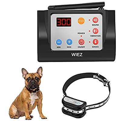 WIEZ Dog Fence Wireless & Training Collar Outdoor 2-in-1, Electric Wireless Fence w/Remote, Adjustable Range, Waterproof, Reflective Stripe, Harmless for All Dogs- 1 Collar