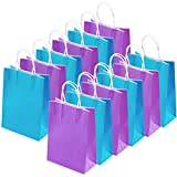 Cooraby 20 Pieces Kraft Paper Bags Party Favor Bags Craft Paper Bags with Handle for Birthday, Baby Shower, Wedding and Party Celebrations (Light Blue, Light Purple)