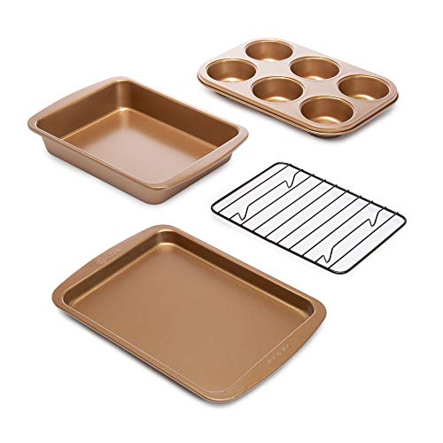 Ecolution Non-Stick Toaster Oven Bakeware Set 4-Piece, Carbon Steel, Easy to Clean and Perfect for Single Servings, Copper