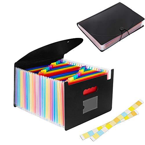 Organizador Expandible Carpetas de Archivos, 24 bolsillos Rainbow Carpeta Clasificadores Carpetas de Acordeón Carpeta Archivadora Extensible Portátil Organizador Documentos para A4
