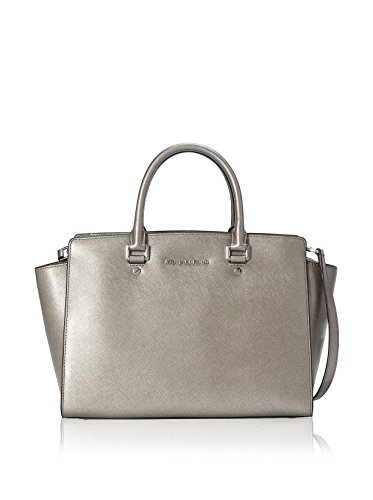 """13"""" W x 9"""" H x 4"""" D Interior features zip pocket and 2 slip pockets/Top zip closure Silhouette is based off 5'9"""" model. Double top handles with 4"""" drop; adjustable crossbody strap with 19-1/2"""" drop Saffiano leather"""