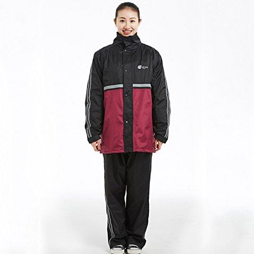 QFF Raincoat Homme et Femme Adulte Split Ride Ensemble de Pantalons de Pluie Plus épais (Couleur : Rouge, Taille : XL)