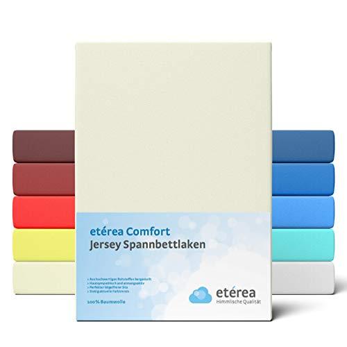 etérea Comfort Jersey Spannbettlaken 140x 200 bis 160x200cm - Weiches Spannbetttuch aus 100% Baumwolle, Bettlaken mit ca. 25 cm Steghöhe und 140 g/m², Natur
