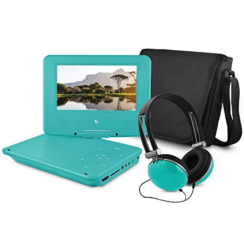 Ematic EPDHD704TL Portable DVD Player Kit with 7-Inch Swivel Screen, Headphones, and Carrying Case, Blue, Standard