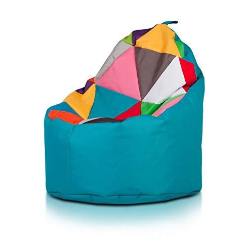Sitzsack Yoko Sitzsack Patchwork Design Pieno aus Polyester für den Außenbereich, 70 x 75 cm