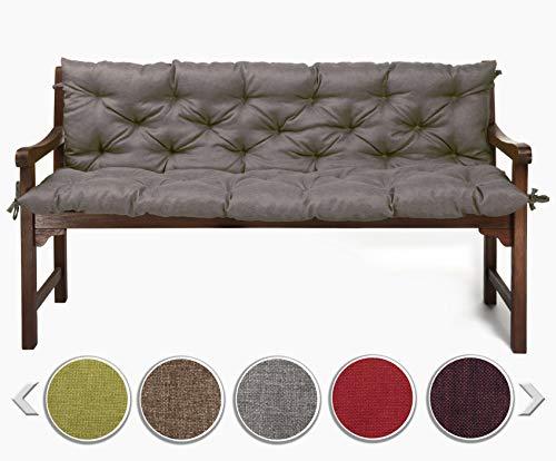 sunnypillow Bankauflage Stuhlkissen Bankkissen 160 x 50 x 50 cm Sitzkissen und Rückenkissen für Hollywoodschaukel Polsterauflage Auflage für Gartenbank viele Farben und Größen zur Auswahl Grau