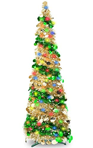 TURNMEON 5 Feet Tinsel Pre-lit Christmas Tree with 50 Color Lights, Pop up Christmas Tree Battery Operated 2 Modes Sequin Ball Ornaments Holiday Xmas Decoration Indoor Home Party Supplies(Green)