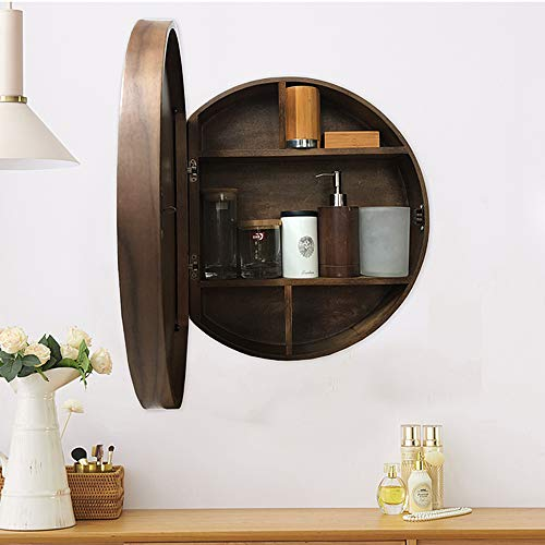 Tinytimes 23 63 Wooden Round Mirror Cabinet Round Vanity Mirror Medicine Cabinet Strong And Heavy Bathroom Cabinet With Cabinet With Round Mirror Dark Brown Buy Online In Faroe Islands At Faroe Desertcart Com Productid 210773848