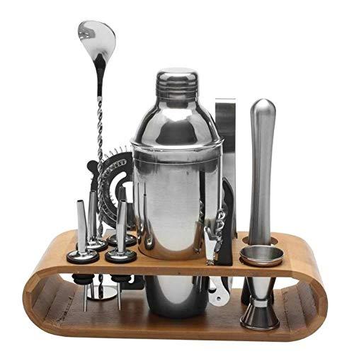 12 Teile/Satz Edelstahl Schnaps Cocktail Shaker Bar Wein Mixer Set Barkeeper Cocktail Hand Shaker Tool Kit Bar Werkzeug Mit Halter, Grau