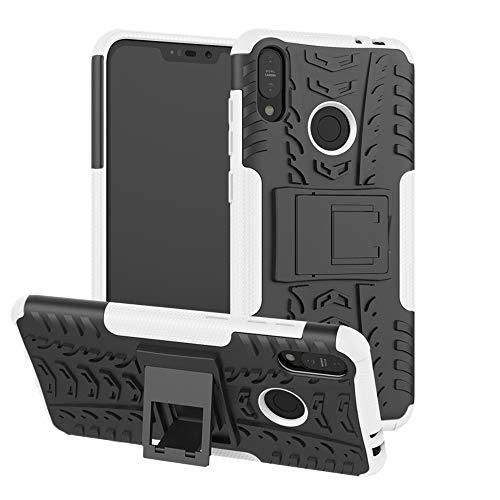 TiHen Handyhülle für Asus Zenfone Max M2 ZB633KL Hülle, 360 Grad Ganzkörper Schutzhülle + Panzerglas Schutzfolie 2 Stück Stoßfest zhülle Handys Tasche Bumper Hülle Cover Skin mit Ständer -Weiß