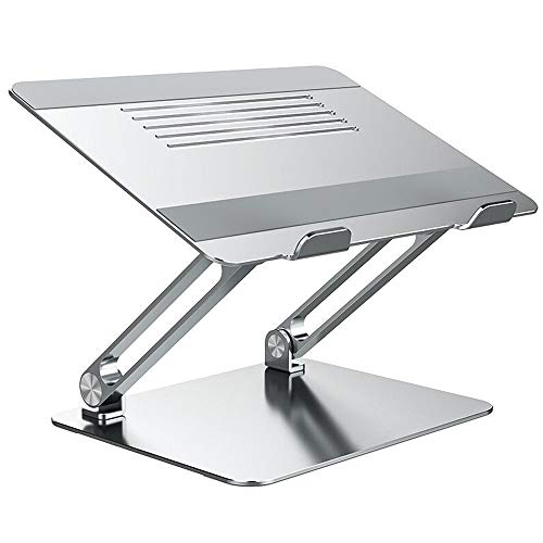 Foldable Laptop Stand, Adjustable Laptop Riser with Slide-Resistant Silicone and Protective Hooks, Aluminum Notebook Stand for Laptops Up to 17 Inches (Color : A)